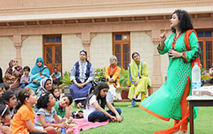 Sania Saeed reading at Storytime Saturdays, Mohatta Palace