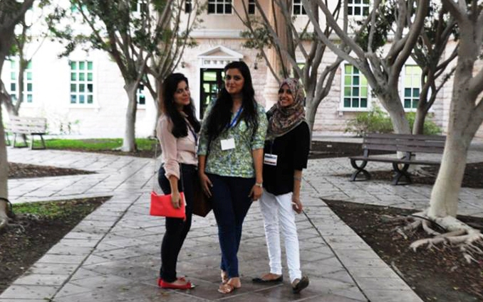 (l-r) Mehick Ahmed, Maryam Gul, Alizeh Hameed at the American University of Dubai - AN INTERNATIONAL CONFERENCE IN DUBAI