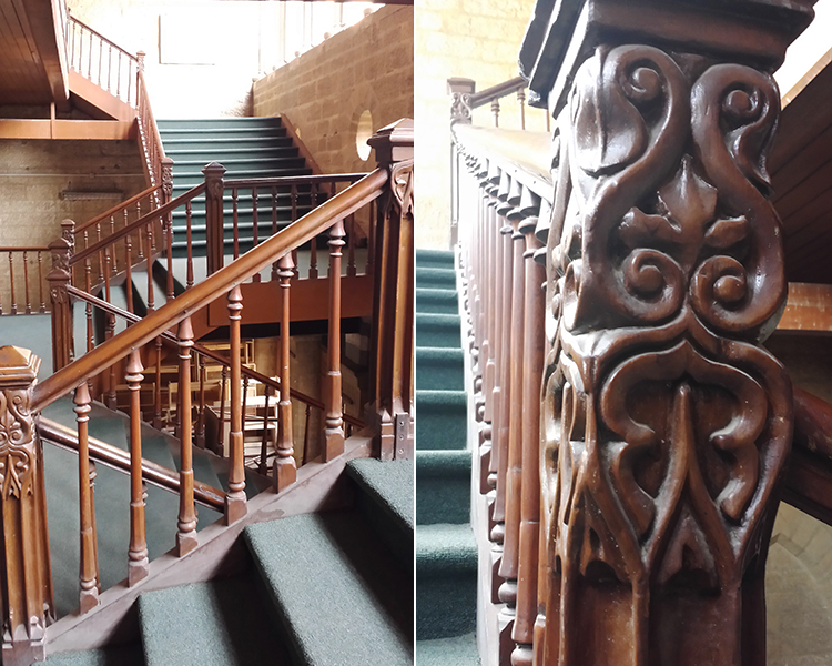 Wooden railings featuring delicate floral patterns