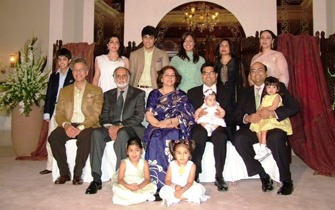 Dr. Jaffrey (seated center) with her family celebrating her 60th birthday,  2006 - Dr. Shahida Jaffrey