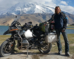 Eric Visser in Pakistan on his Motorbike
