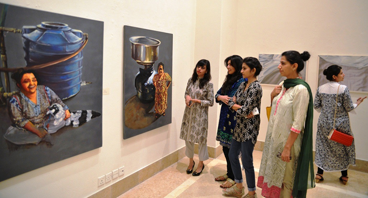 The exhibition featured paintings by four young female artists - Exhibition In Plain Sight at Satrang Art Gallery