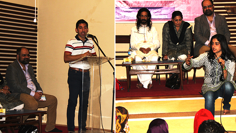 Adeel Hashmi (grandson of Faiz Ahmed Faiz) and Nadia Jamil speaking at Faiz Ghar