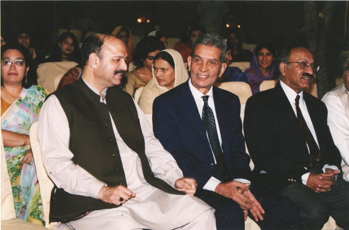 (From left to right) Senator Mushahid Hussain, V.C. Dr. Usman Ali Isani and Dr. Ijaz Hussain, Dean of Social Sciences, at a Department of History, Quaid-e-Azam University event - HIGHER EDUCATION IN PAKISTAN