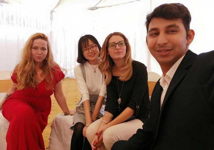 How Two Chinese Students Spent Their New Year in Pakistan: Chen Yanni with other foreign students working in Pakistan
