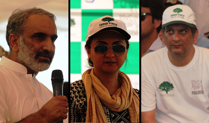 (l-r) Dr. Khursheed, DG, Environment Protection Agency, Saima Umar and Bilal Haque of Green Force - 'Keep Korang Klean' Drive by Green Force