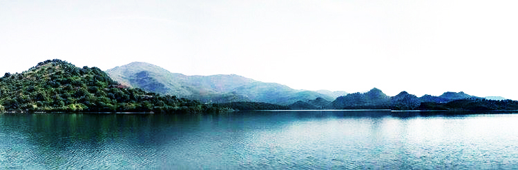 The crystal clear lake contrasting against the rugged green mountains (by Hasan Daniyal) - Khanpur Dam