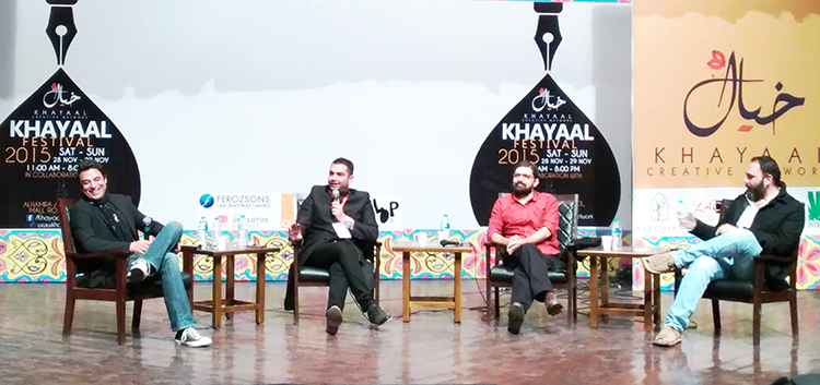 (l-r) Adnan Sarwar, Sarmad Khoosat, Farjad Nabi and Jami Mahmood - Khayaal Festival 2015 - Session: Post Revival of Pakistani Cinema