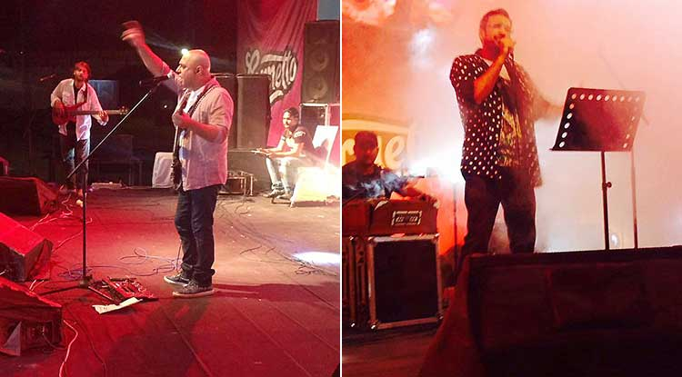 Ali Azmat (left) and Ali Sethi (right) performing live at the festival - Lahore Eat 2017