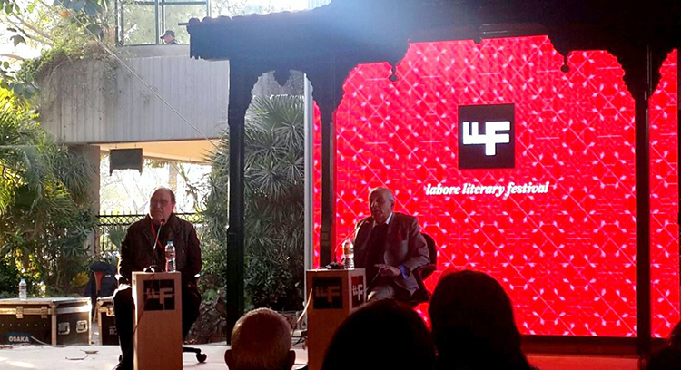 Author A.G. Noorani with Khaled Ahmed - LLF 2016 Day 1: The Destruction of Hyderabad and Aag Ka Darya