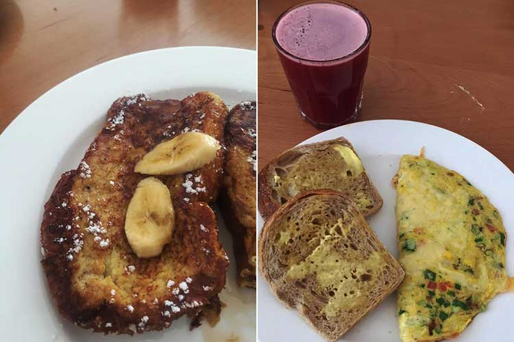 Loafology Bakery and Cafe, Islamabad: French toast and Desi omelette with sour dough bread and fresh pomegranate juice