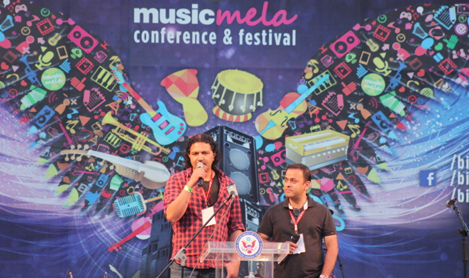 Arieb Azhar (L) and Zeejah Fazli (R) the Directors of Music Mela at the opening session - Music Mela 2015 at PNCA Islamabad