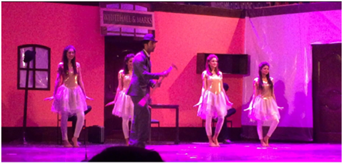 Leo imagining his life as a producer, with the girls and the glamour - Musical Comedy Play 'The Producers' by LUMS