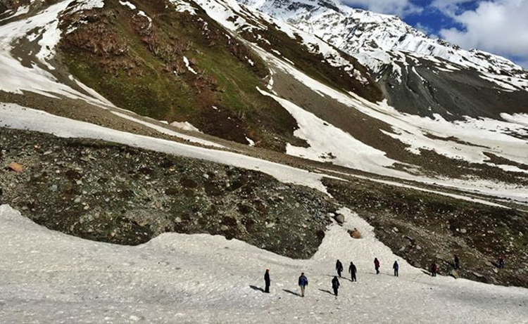 Crossing Patches of Snow En Route Upper Shani (Picture Credit: Haroon Ahmed Alvi) - Naltar Valley