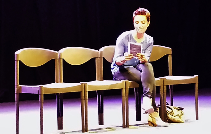 A one-woman show with minimal stage decor - NAPA Play Me, My Mom and Sharmila by Fawzia Mirza and the Brown Woman