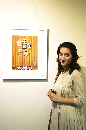 Sadaf Javaid with one of her artworks
