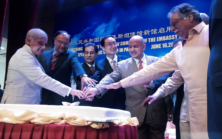 (right to left) Minister of Information, Pervez Rashid, Chairman PCI, Senator Mushahid Hussain Sayed, Ambassador of China to Pakistan, H.E. Sun Weidong, Speaker of the National Assembly, Ayaz Sadiq, Minister of Planning, Ahsan Iqbal, and Chief Minister of - Opening of the New Chinese Embassy