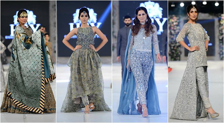 HSY presented his signature style in peplum coats over lehngas and voluminous gowns
