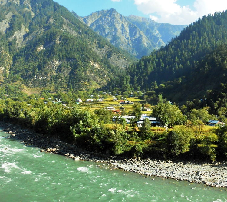 Picture taken near Keran in Azad Jammu & Kashmir, with the River Neelum in the foreground