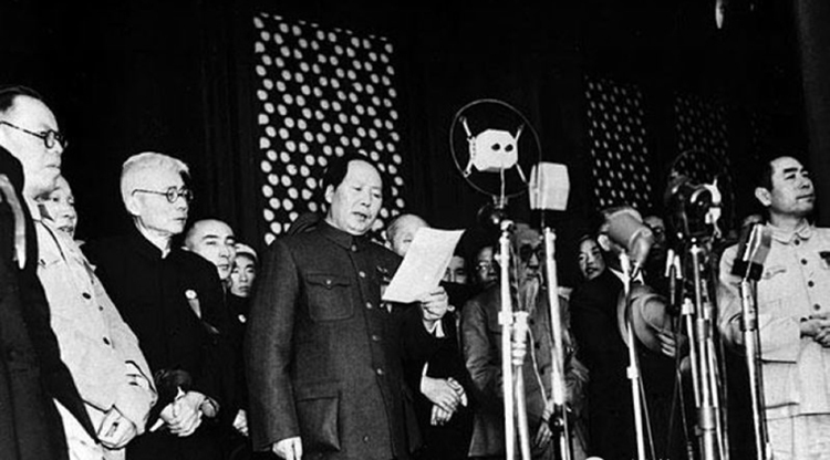 Chairman Mao declares the establishment of the People's Republic of China on October 1st, 1949