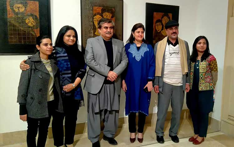 Akram Dost with Director PNCA Jamal Shah, Director Satrang Gallery Asma Khan, Curator Zaira Ahmad and Assistant Curators Maimoona Riaz and Jasmine Michael