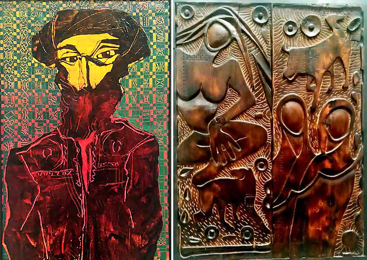 Figurative oil painting and intricate wood carving by Akram Dost at Satrang Art Gallery, Islamabad