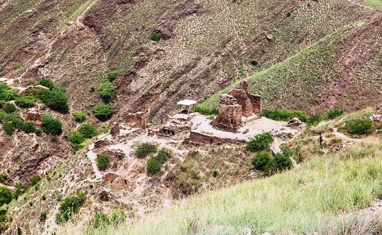 View of Takht-i-Bahi ruins from atop a mountain - Takht-i-Bahi, an Icon of the Ancient Buddhist Civilization