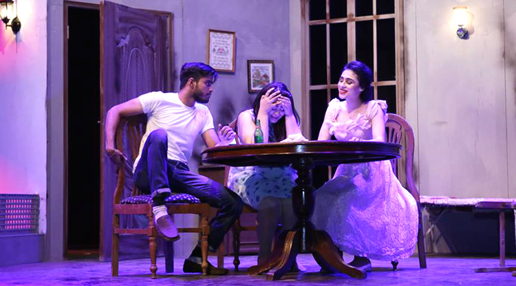 A perfect image of Stella caught between her aggressive husband and delusional sister - Tennessee Williams A Streetcar Named Desire Comes to Karachi