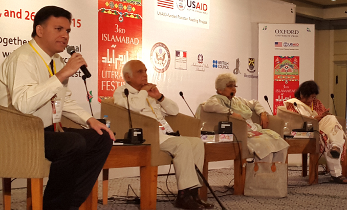 (l-r) Ali Madeeh Hashmi, Intizar Hussain, Arfa Syeda and Zaheda Hina - The Heart Breaks Free: Dramatic Readings of Ismat Chughtai's Stories