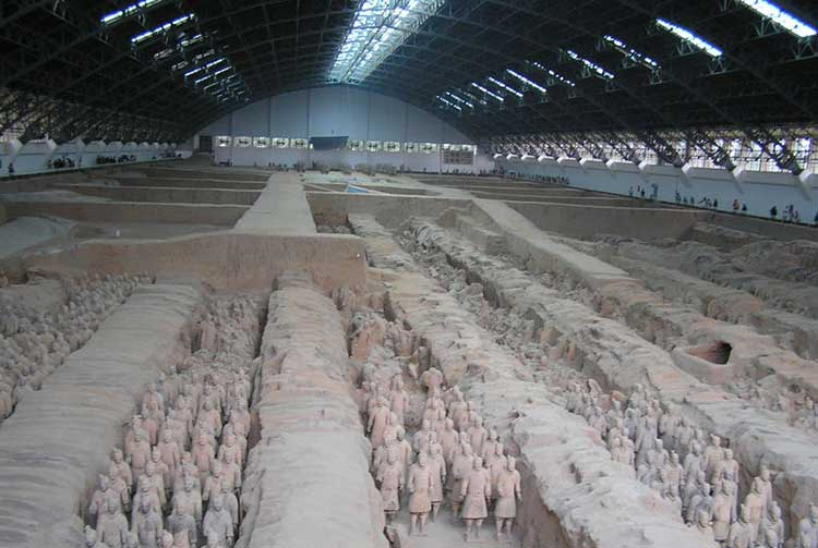 The Terracotta Army, located near the Mausoleum of the First Qin Emperor