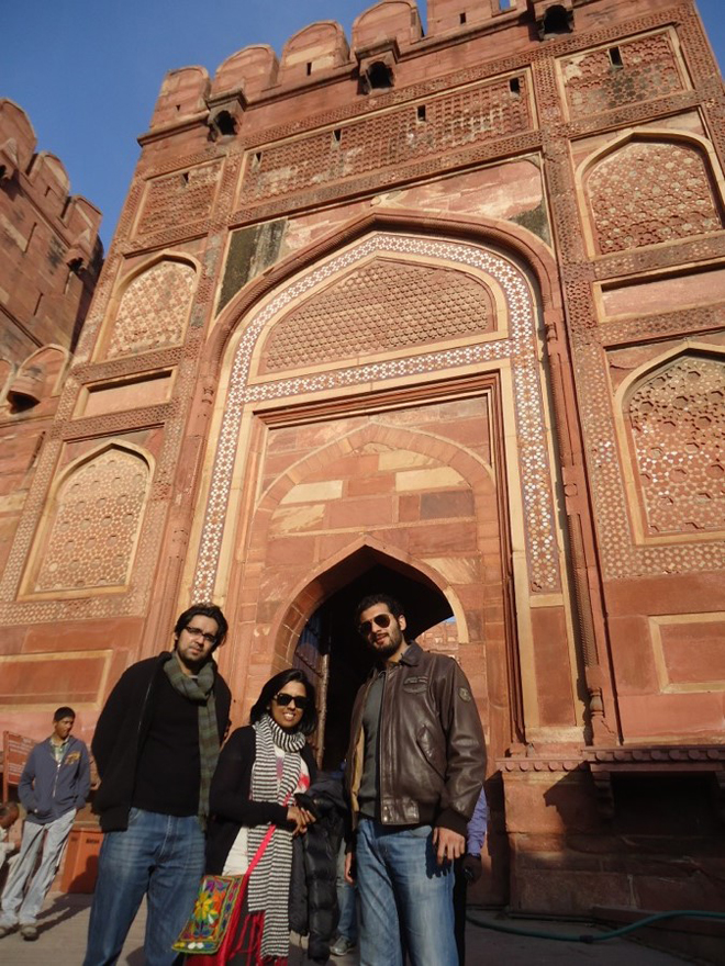 Posing in front of the Agra Fort