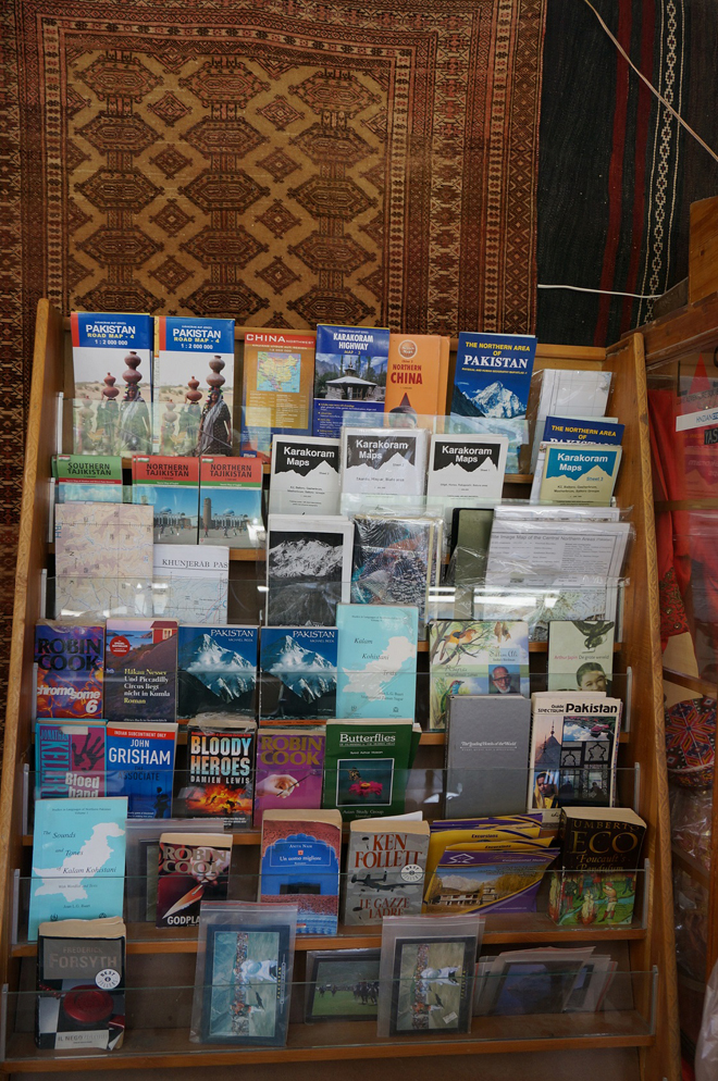 Books and leaflets at Cafe de Hunza, Karimabad