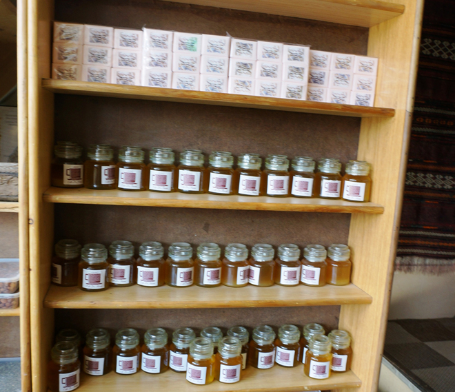Locally made soap and honey for sale at Cafe de Hunza