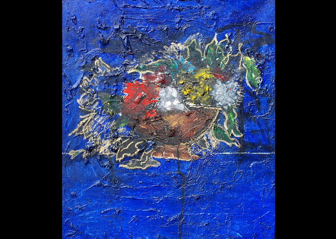 Blue composition, 22 by 28 inches, oil on canvas