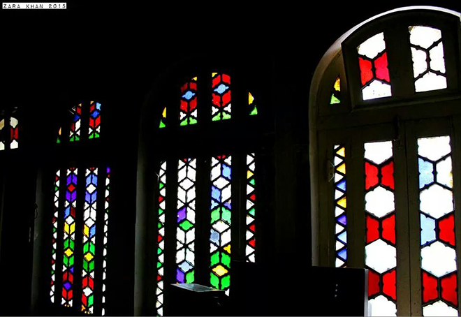 Glass work on windows from Belgium (photo by Zara Khan)