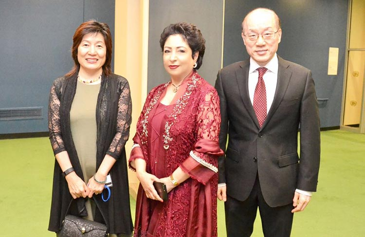 14th August Celebrations at UN General Assembly with Sachal Band - Maleeha Lodhi, with Chinese Ambassador Liu Jieyi and his wife