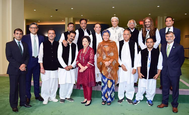 14th August Celebrations at UN General Assembly with Sachal Band - Maleeha Lodhi and Amina Mohammed with Sachal Orchestra