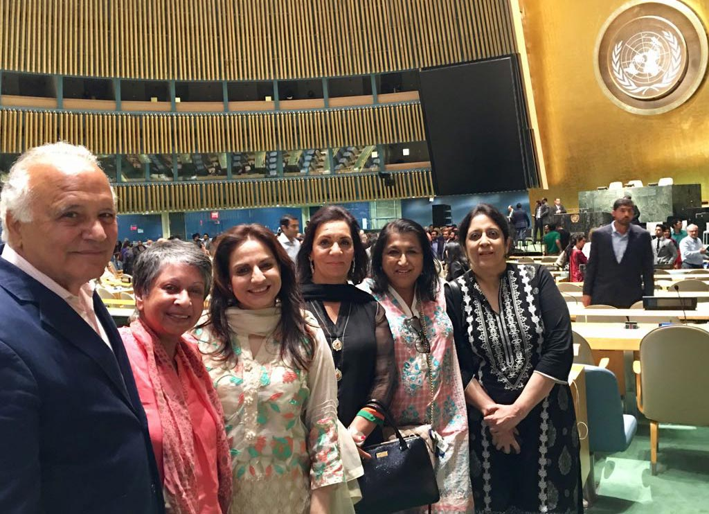 14th August Celebrations at UN General Assembly with Sachal Band - The author Zeba Hyder (second from left), Dr Zoovia Hameeduddin (second from right) and guests