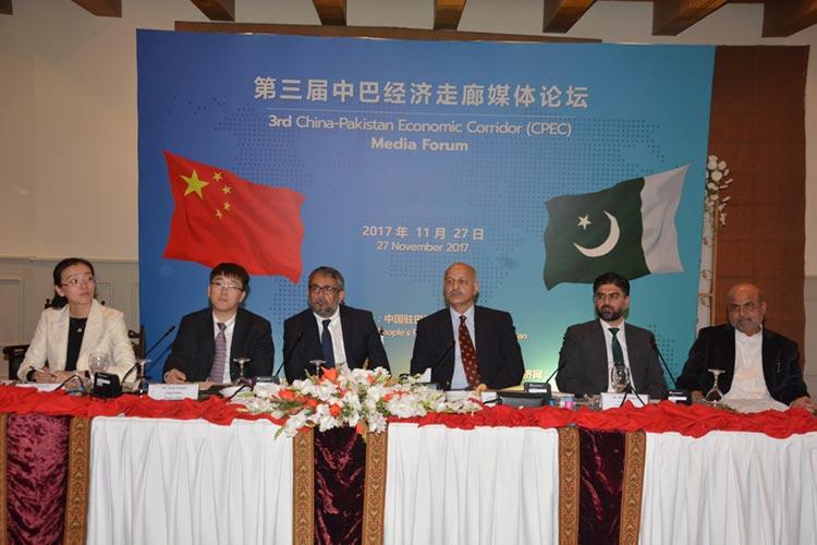 (L-R) Ms. Wang Lin, Mr. Meng Xianglin, Mr. Asif Salahuddin, Senator Mushahid Hussain, Dr. Shahid Rasheed and Mr. Shahji Gul Afridi at session 'Promoting Information Corridor for Strengthening CPEC.'