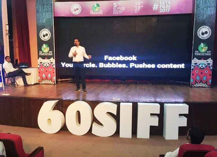 Syed Ahmad talked about opinion making and the impact of disseminating news through social media - 60SIFF at F-9 Park, Islamabad