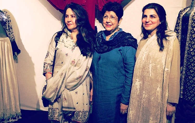 The curator, Nasreen Askari (C) with designers Faiza Samee (L) and Sonya Battla (R) - A Flower from Every Meadow - Mohatta Palace Exhibition