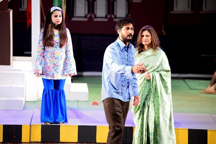 (L-R) Almas (Hina Tariq), Asim (Sohail Tariq) and Miss Malka (Mehreen Imran) - Ajoka Theatre Charing Cross