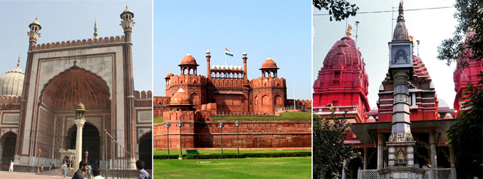 (l-r ) Jamia Masjid, Red Fort & Jain Laal Mandir - Delhi, India
