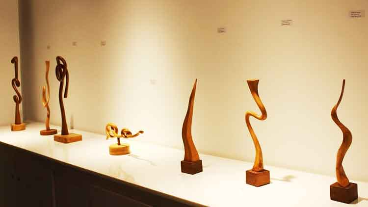 Free-standing sculptures - An Affair with Wood – Sculptures by Abid Larik at VM Art Gallery