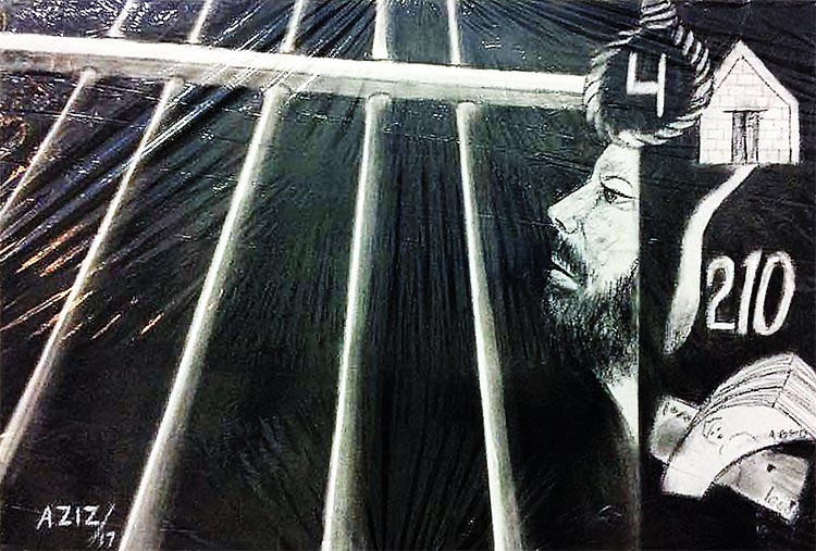 Charcoal Sketch by Aziz - a prisoner on Death Row - Art by Prisoners of Centeral Jail Karachi at French Cultural Centre
