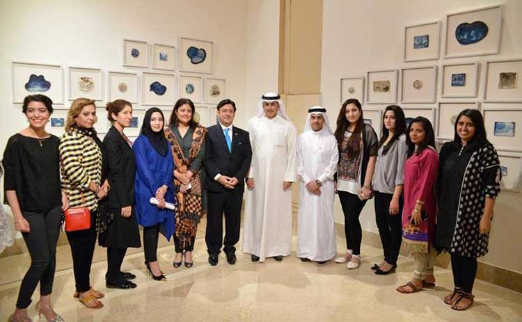 H.E. Zayed Bin Rashid Al Zayani with Director Satrang Gallery Asma Rashid Khan along with artists and guests at the exhibition - Art Exhibition 'Illusion of Reality' at Satrang Gallery