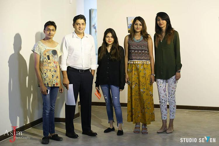 (L-R) Curator Jamal Ashiqain with Iftikhar Chohan, Rabia Ali, Amna Abbas and Warda Memon - Art Exhibition Silent Noise at Studio Seven Karachi