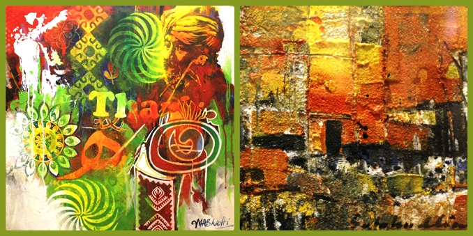 Artworks by M. Ali Bhatti (L) and Kazi Salahuddin Ahmed (R) - Art Exhibition: The Power of Illusions at Nomad Art Gallery