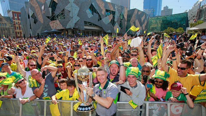 Michael Clarke shows off the World Cup trophy to fans at Federation Square, Melbourne - Australia Pulverizes New Zealand to Bag World Cup 2015 Trophy