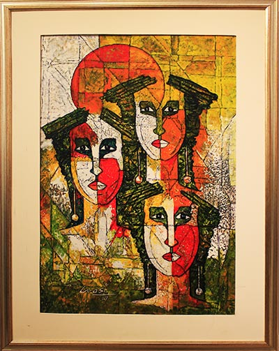'Faces' by Wasi Hyder - Baad-e-Saba Exhibition by Artists of Sindh at Art Scene Gallery